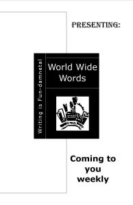 World Wide Words Issue 849 - WIF Style