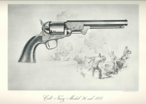 "A drawing of the Colt Navy Model .36 cal revolver manufactured in 1851. The scene beneath the revolver shows a group of sailors firing a canon at a distant ship. One of six prints enclosed in a folded cover entitled ""A Collection of Colt Historical Prints 1836-1873""."