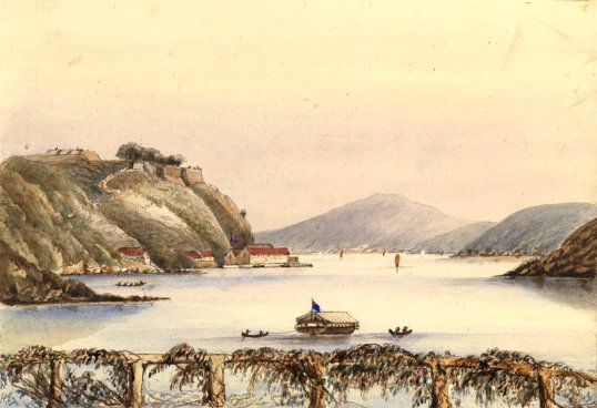 Dockyard at Trincomalee, Ceylon from the Admiralty House by Harry Edmund Edgell