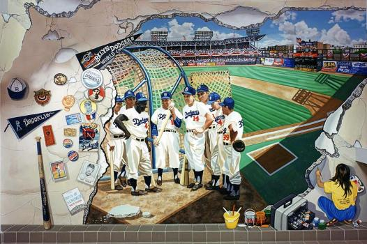 The Brooklyn Dodgers In Ebbets Field by Bonnie Siracusa