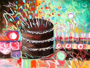 chocolate_birthday-cake__five__abstract_pastel_painting_by_carol_engles